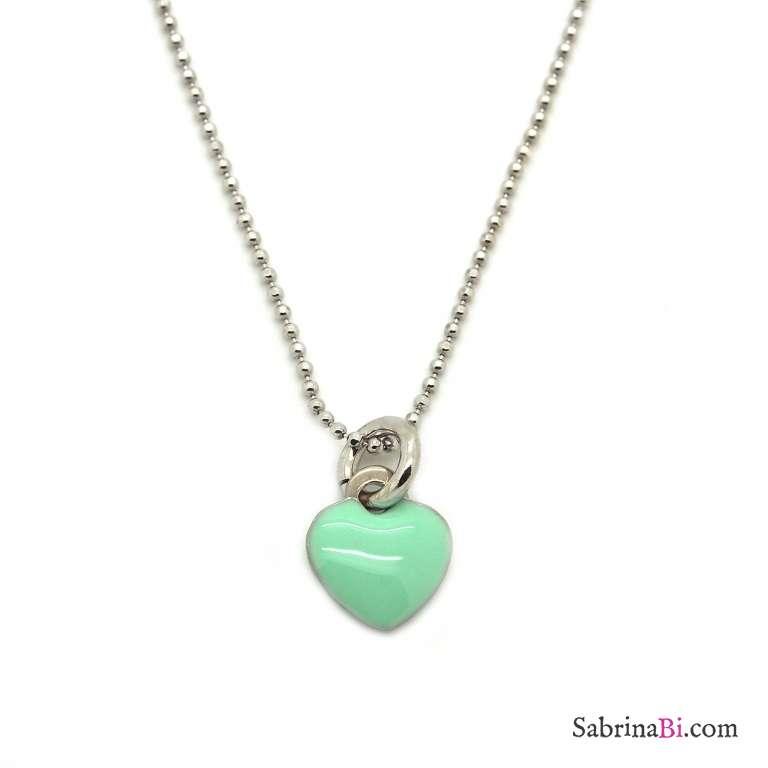 Collana argento 925 ciondolo cuore smalto verde