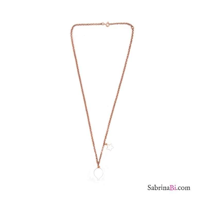 Collana argento 925 oro rosa palloncino e stella smalto bianco