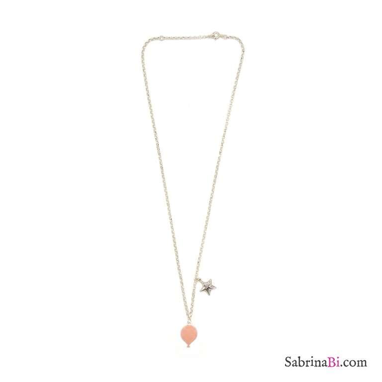 Collana argento 925 palloncino smalto rosa e stella