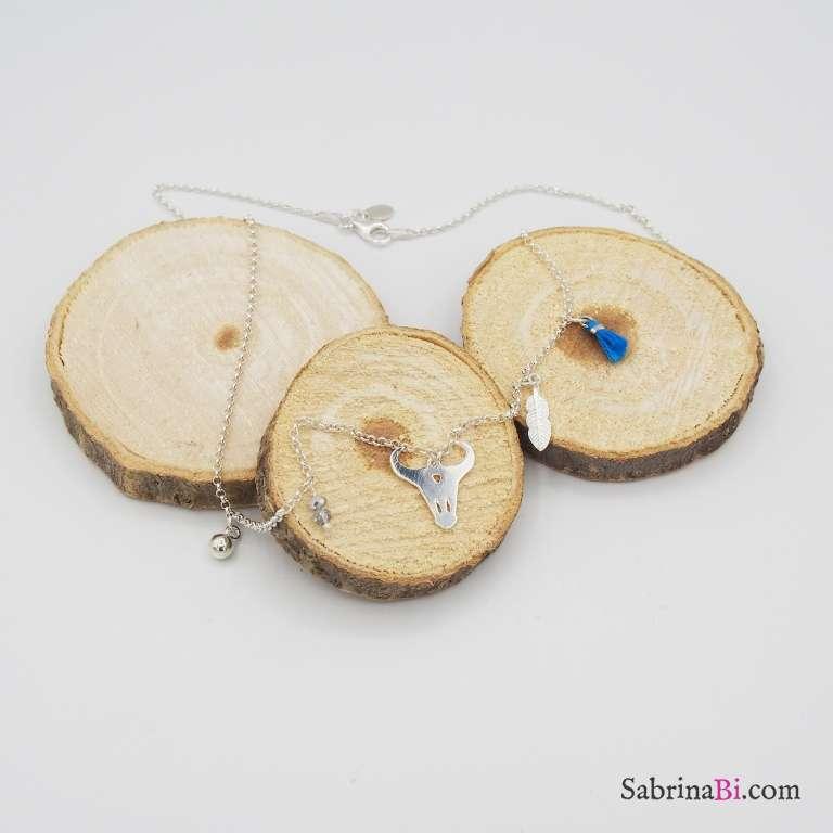 Collana argento 925 Teschio di Toro e nappina