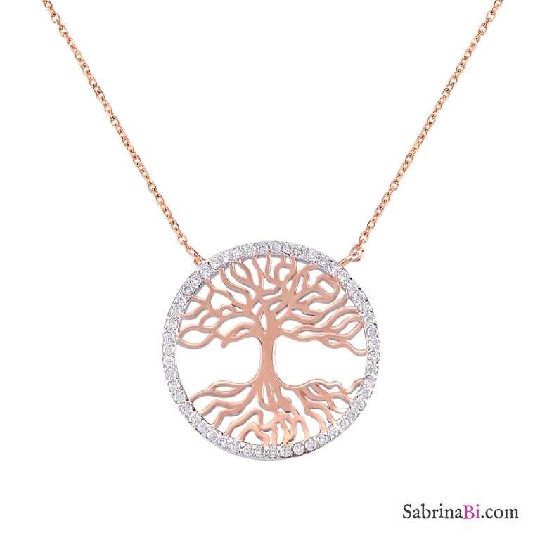 Collana corta argento 925 oro rosa Albero della Vita brillanti