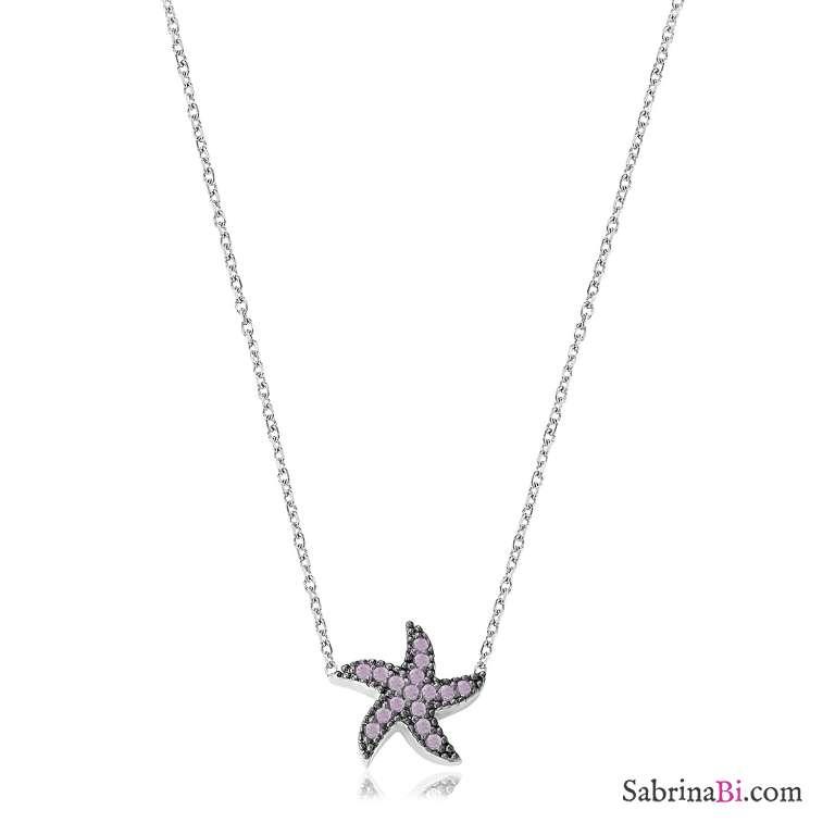Collana corta argento 925 Stella Marina brillanti glicine
