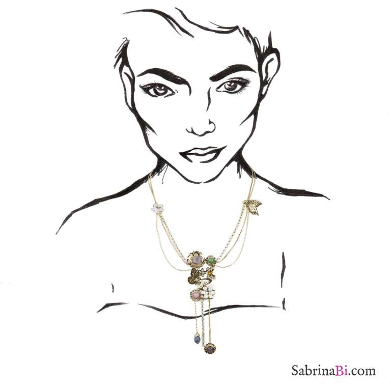 Collana dorata multifilo farfalle e fiori con cristalli