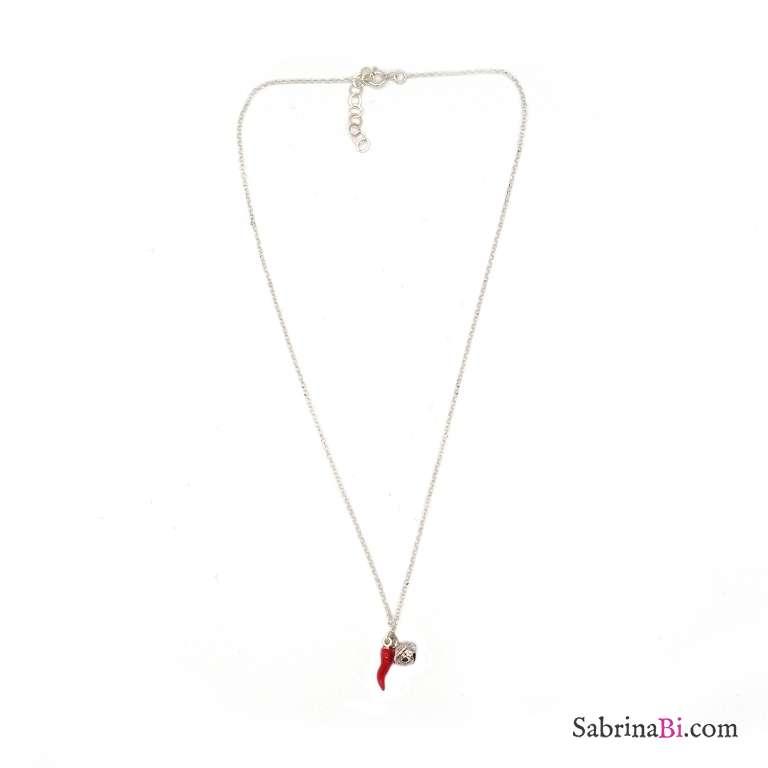 Collana girocollo argento 925 cornetto rosso e campanellino