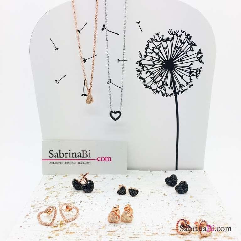 Collana girocollo argento 925 Cuore Spinelli neri