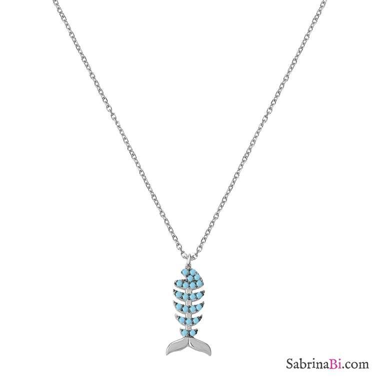 Collana girocollo argento 925 Pesce Turchesi