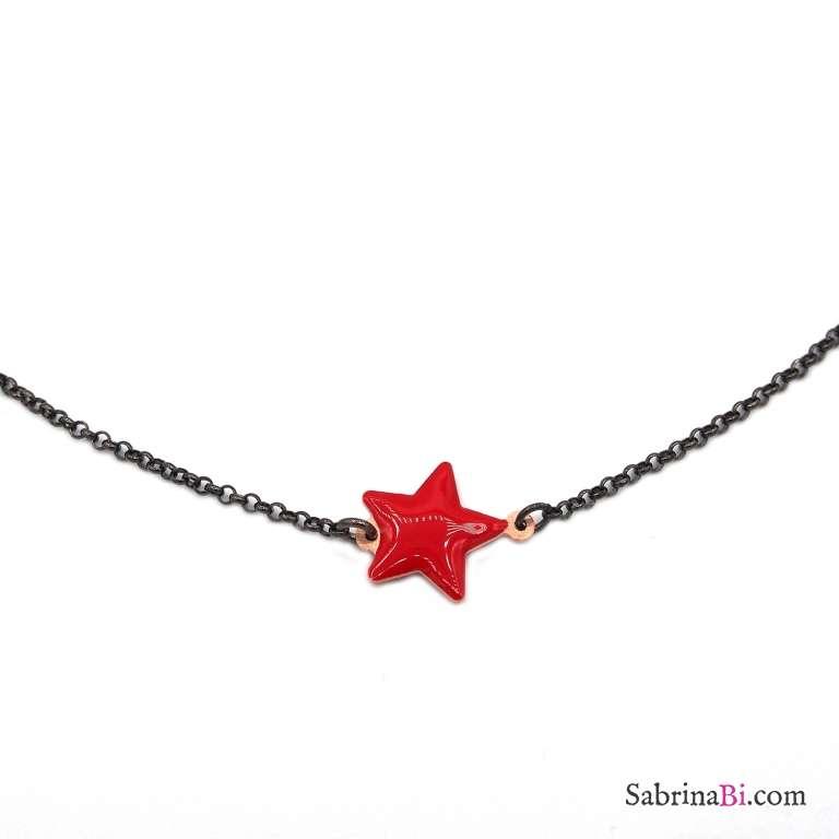 Collana girocollo argento 925 rodiato nero stella grande rossa