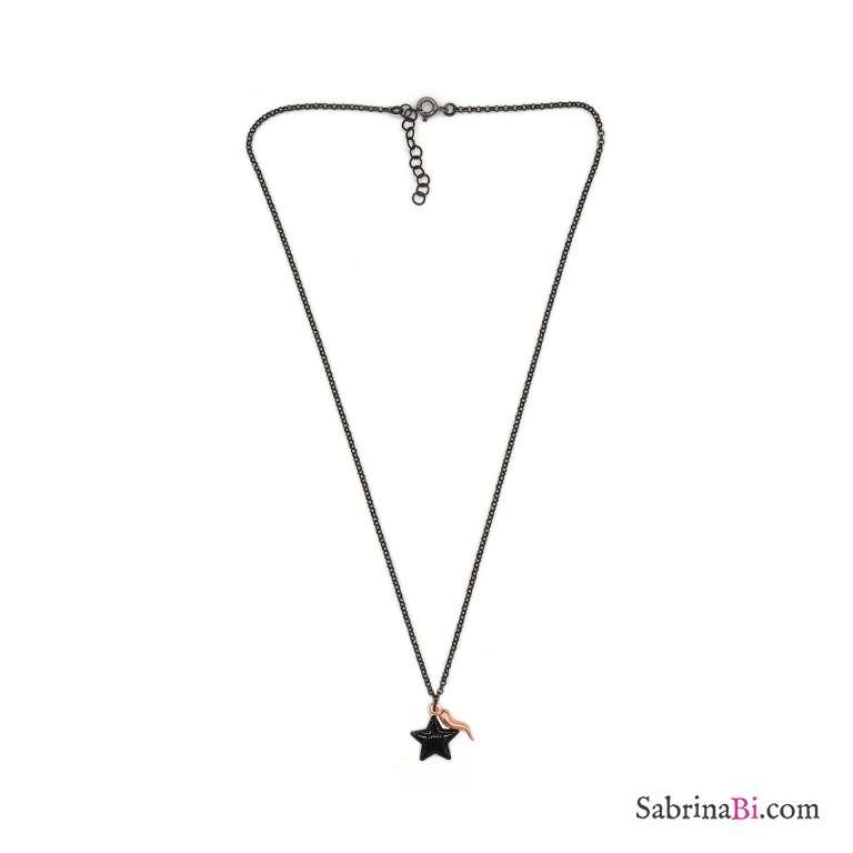 Collana girocollo argento 925 rodiato nero stella nera grande e cornetto