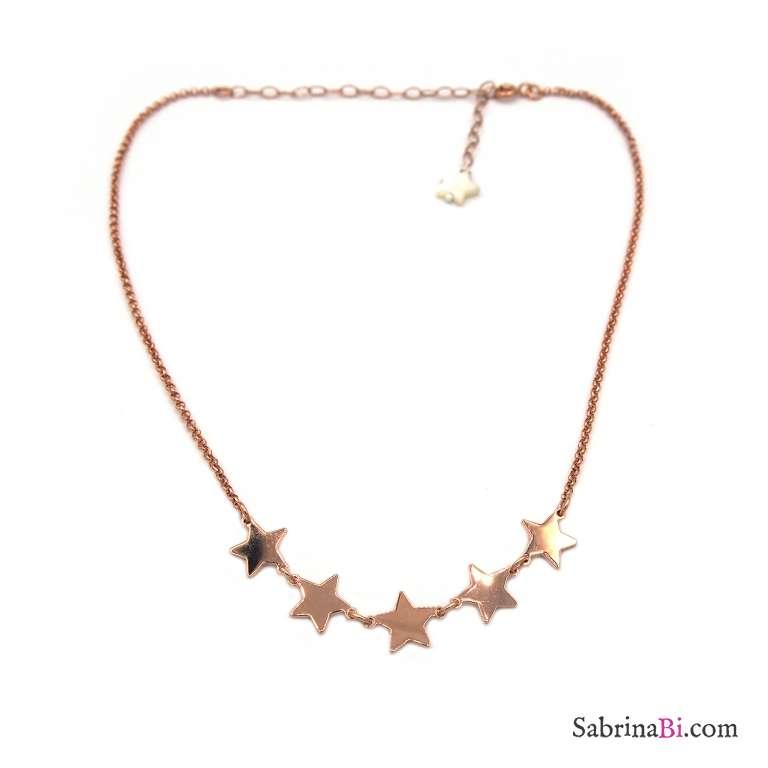 Collana girocollo/ choker/ strozzacollo argento 925 oro rosa 5 Stelle piccole