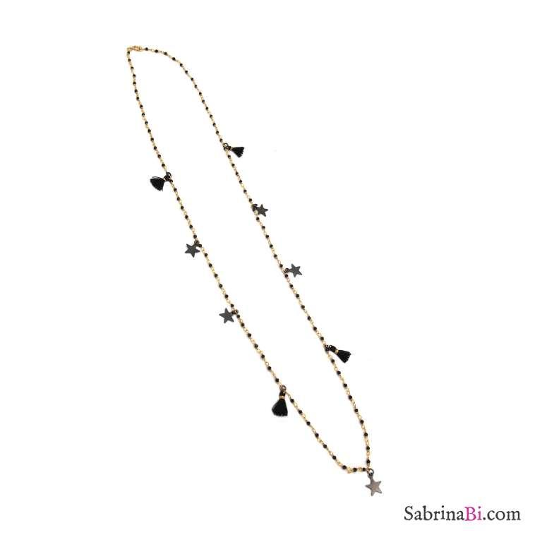 Collana lunga argento 925 bagno oro rosario cristalli neri, stelle e nappine