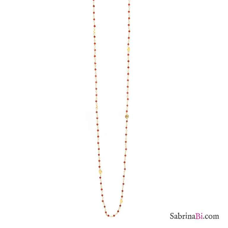 Collana lunga argento 925 bagno oro rosario onice rosso 1mm