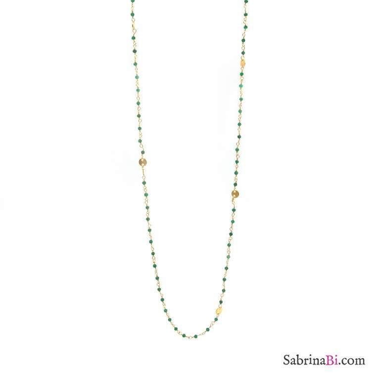 Collana lunga argento 925 bagno oro rosario onice verde 1mm