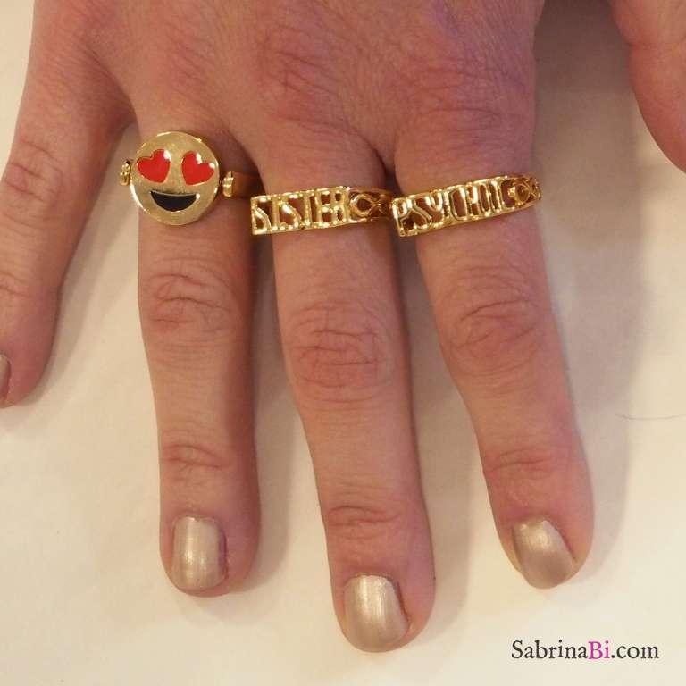 Coppia di anelli placcati oro scritta Psychic Sister tg. S/M
