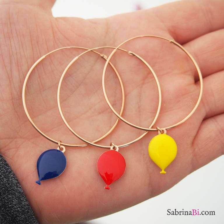Mono-orecchino cerchio grande argento 925 oro rosa palloncino rosso