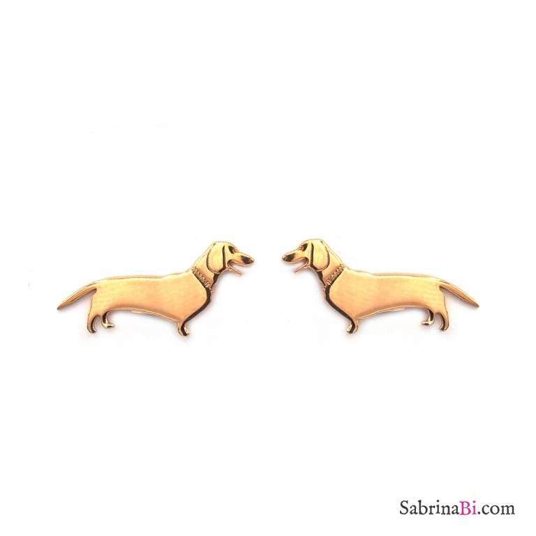Orecchini a lobo argento 925 oro rosa cane bassotto