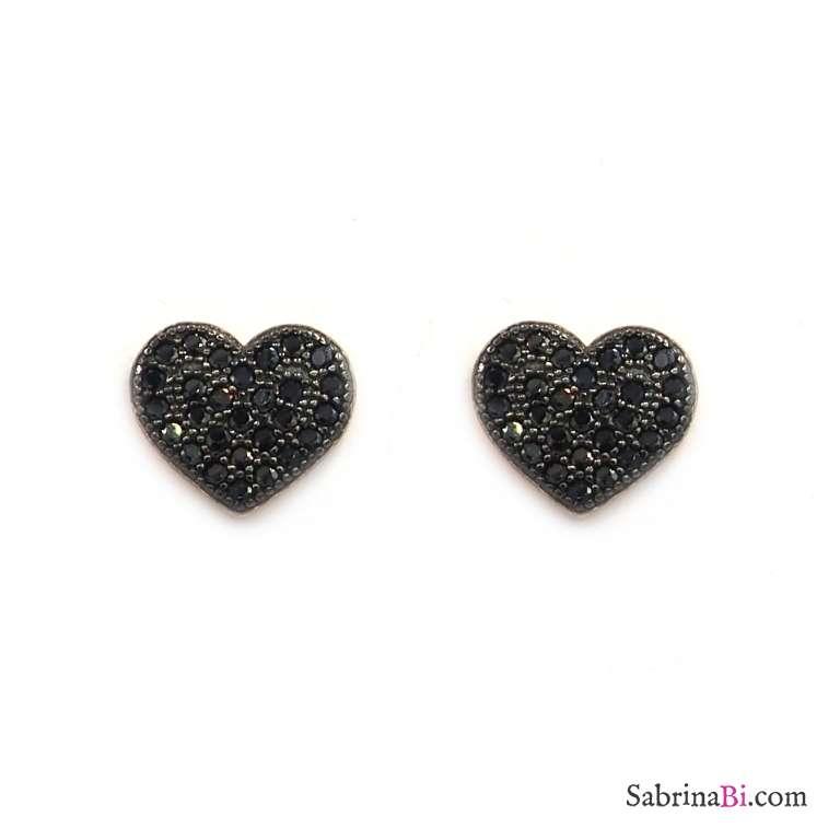 Orecchini a lobo argento 925 oro rosa cuori cristalli neri