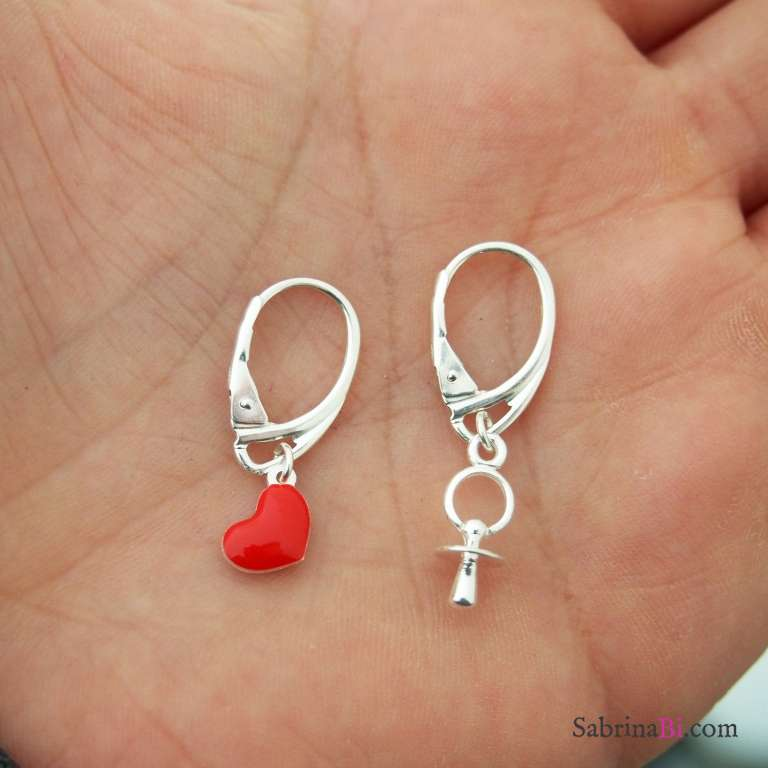 Orecchini argento 925 cuore rosso e ciuccio