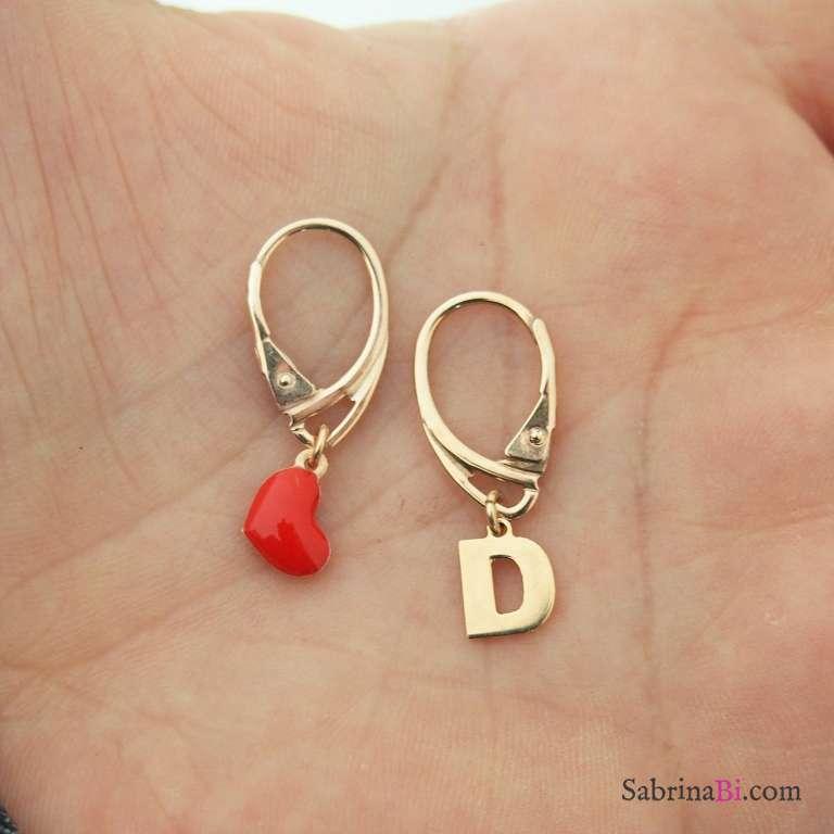 Orecchini argento 925 oro rosa cuore rosso e lettera iniziale nome
