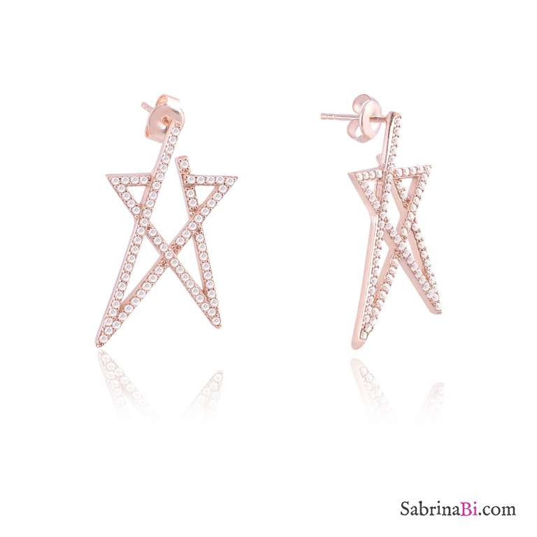 Orecchini argento 925 oro rosa stella media brillanti
