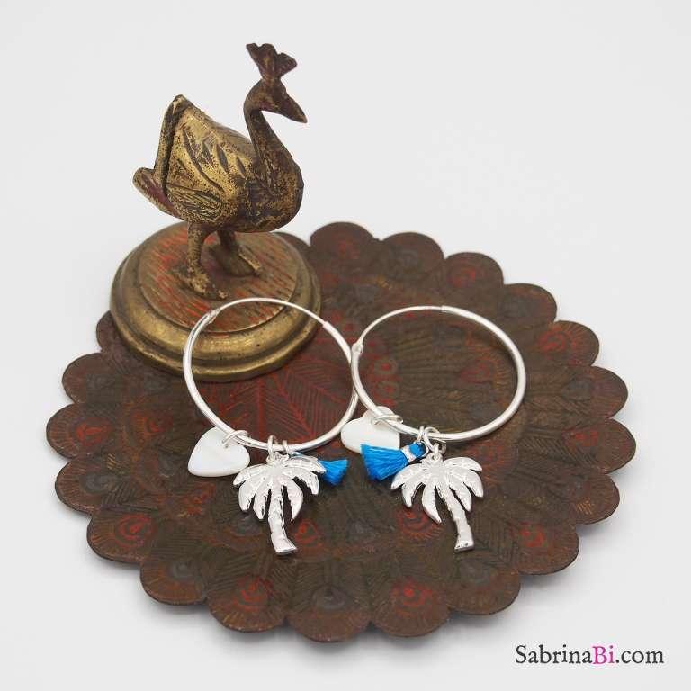 Orecchini cerchio grande argento 925 palma, cuore e nappina