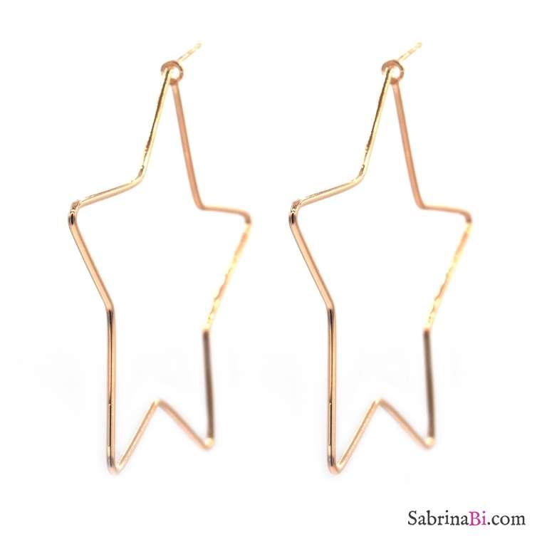 Orecchini pendenti argento 925 oro rosa stella grande laterale vuota