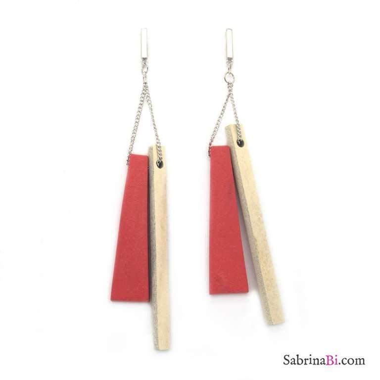 Orecchini pendenti legno rossi