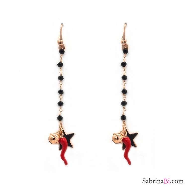 Orecchini pendenti rosario stella cornetto campanellino