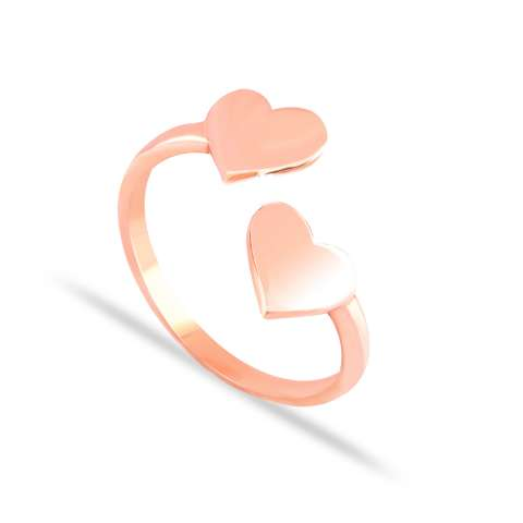 Anello open argento 925 Due Cuori oro rosa