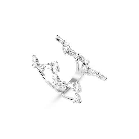Anello rampicante armatura regolabile aperta argento 925 brillanti