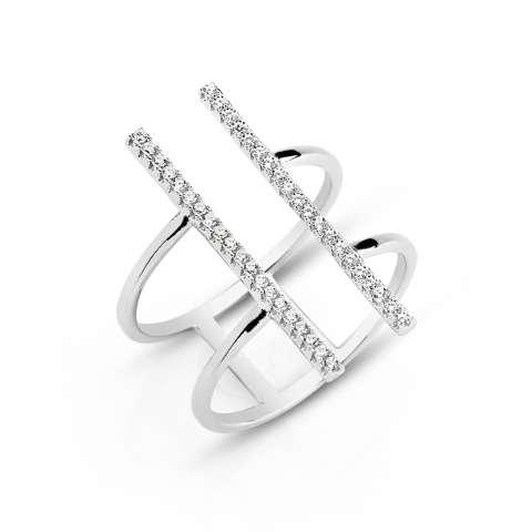Anello regolabile argento 925 barrette brillanti