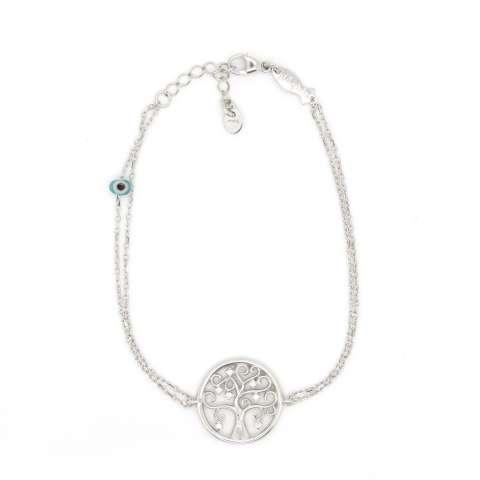 Bracciale argento 925 Albero della Vita brillanti