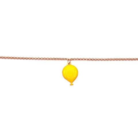 Bracciale argento 925 oro rosa palloncino smalto giallo