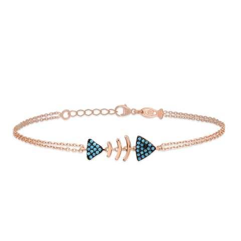 Bracciale argento 925 oro rosa Pesce turchesi