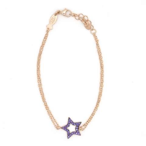 Bracciale bambina argento 925 oro rosa Stella brillanti viola
