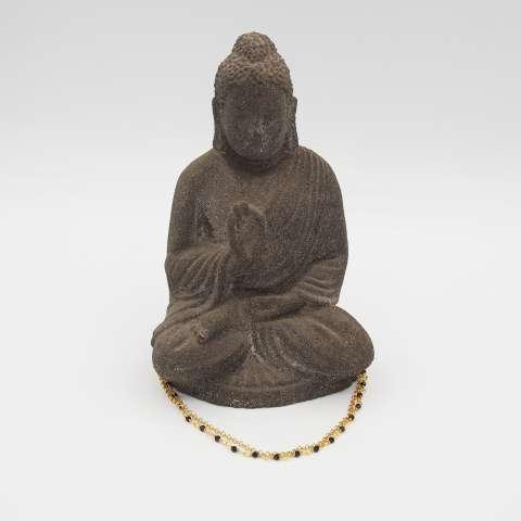 Bracciale doppio argento 925 bagno oro rosario cristalli neri e cuore