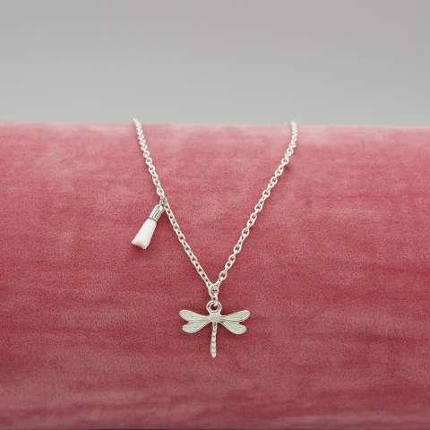 Collana argento 925 Libellula e nappina