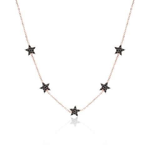 Collana argento 925 oro rosa 5 Stelle brillanti neri