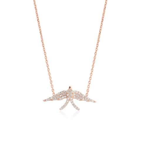 Collana corta argento 925 bagno oro rosa Rondine brillanti