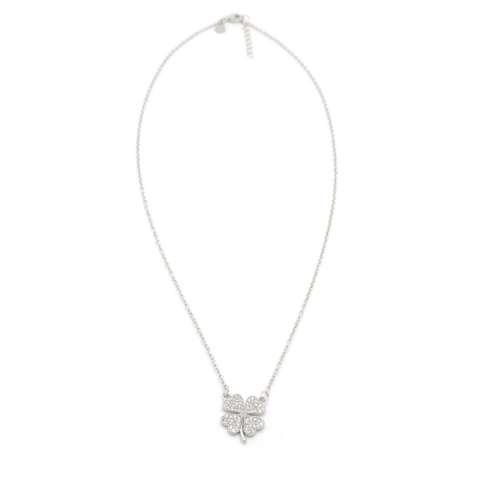 Collana corta argento 925 Quadrifoglio brillanti