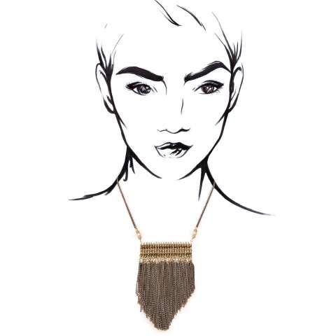 Collana corta gipsy con pendente cristalli bronzo e frangia catene