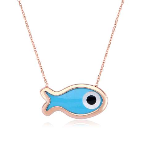 Collana girocollo argento 925 oro rosa Pesce Madreperla blu