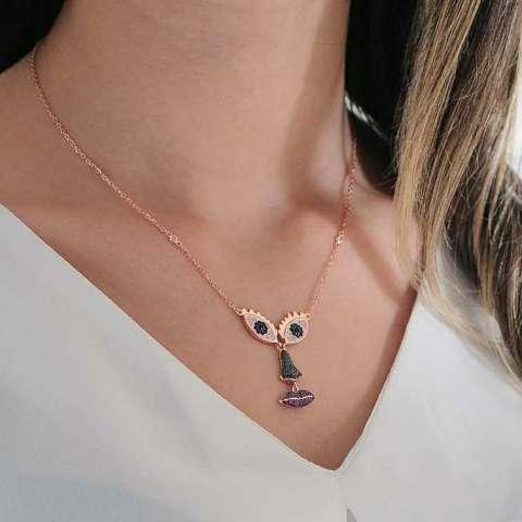 Collana girocollo argento 925 oro rosa Volto Dalì brillanti