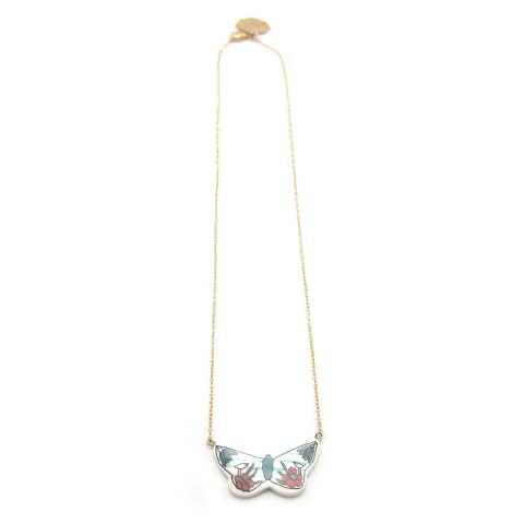 Collana girocollo oro piccola farfalla porcellana con fiori