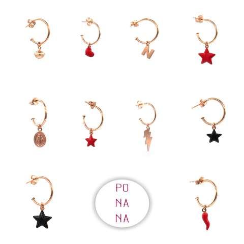 Mono-orecchino a cerchio argento 925 oro rosa stella nera piccola