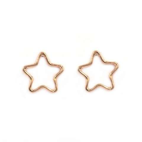 Orecchini a lobo argento 925 oro rosa sagoma stella
