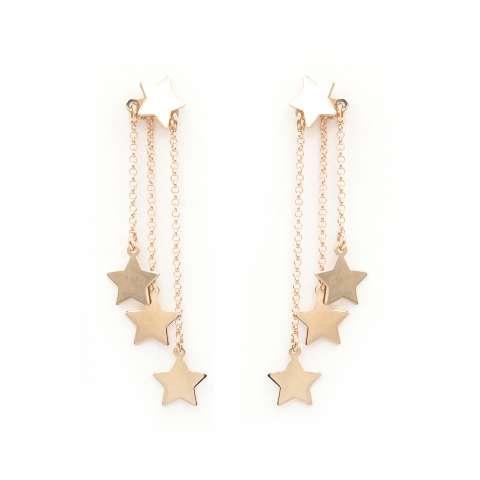 Orecchini argento 925 oro rosa catene 3 Stelle pendenti