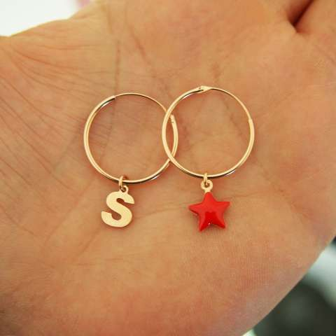 Orecchini cerchio argento 925 oro rosa stella rossa e lettera iniziale nome