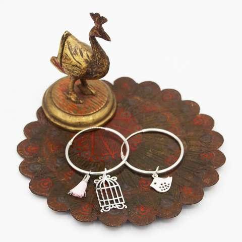 Orecchini cerchio grande argento 925 gabbia, uccellino, nappina
