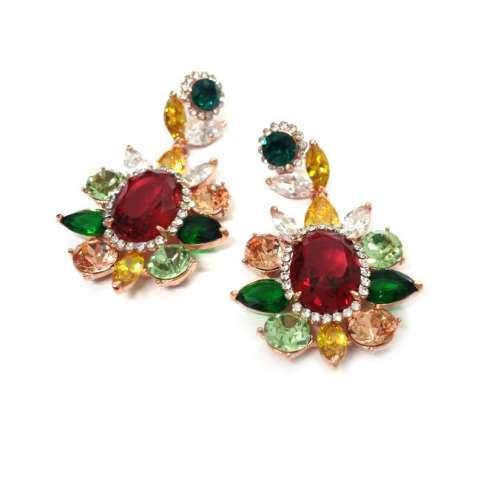 Orecchini Chandelier oro fiore cristalli Swarovski multicolor