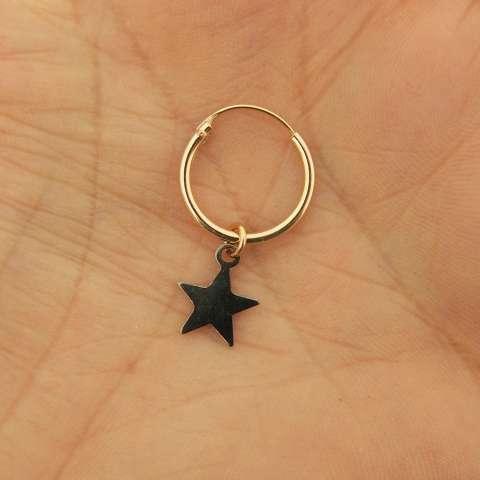 Orecchini mini cerchio argento 925 oro rosa stella nera